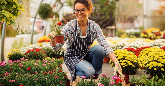 Beautiful smiling florist woman posing while crouching and holding flowerpot with a red flower in the colourful bright greenhouse.